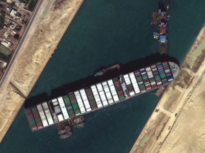 Satellite view of Ever Given